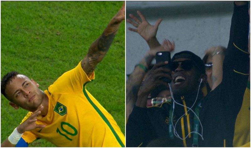 Neymar strikes a pose for Usain Bolt