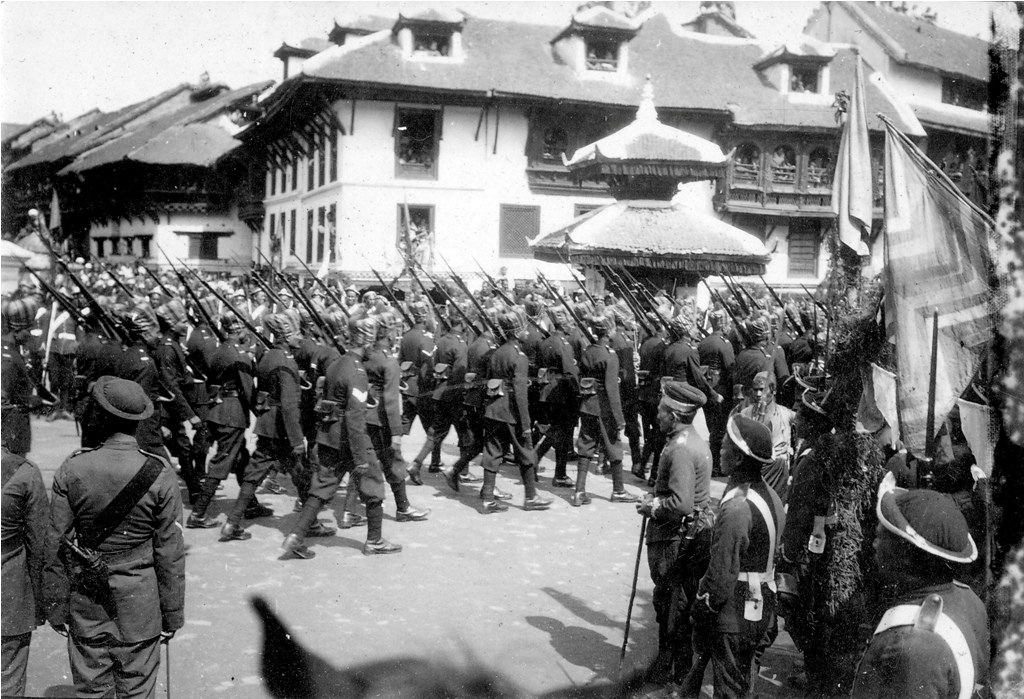 Soldiers marching on the crowning day of king Tribhuvan