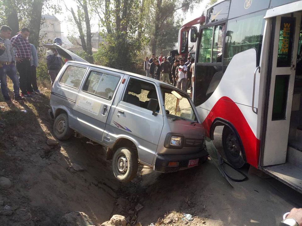 Passenger bus hits school van