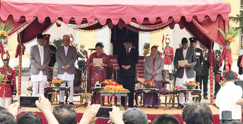 Deuba sworn in as new PM; inducts 7 ministers