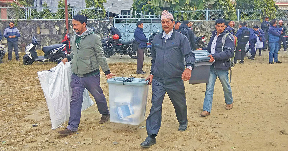 Officers head for polling stations carrying election materials