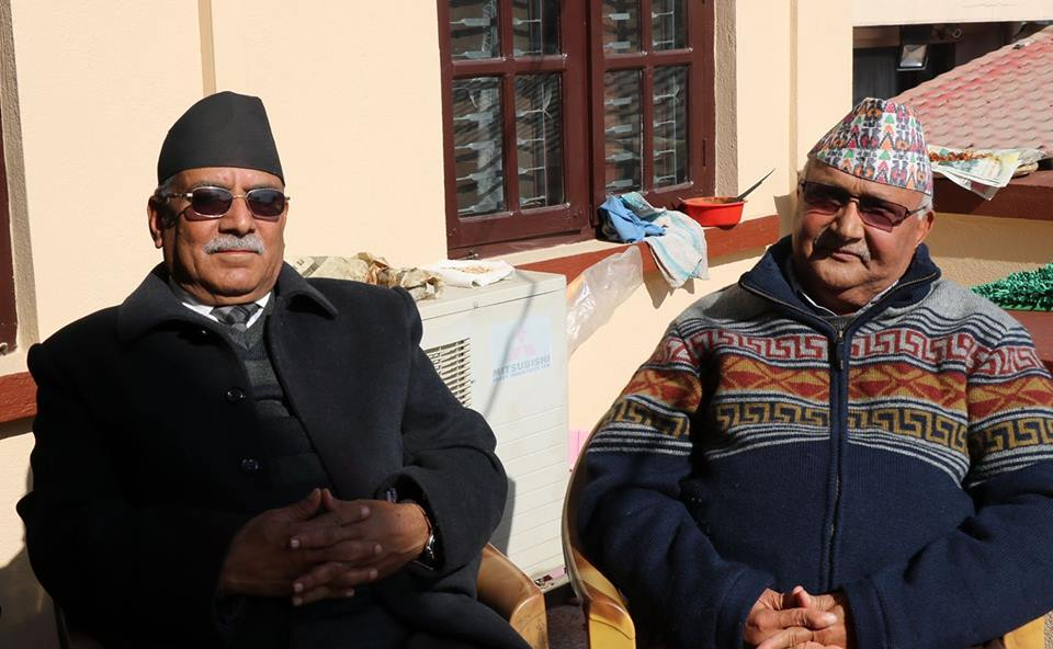 PM Oli and Maoist Chair Dahal meet