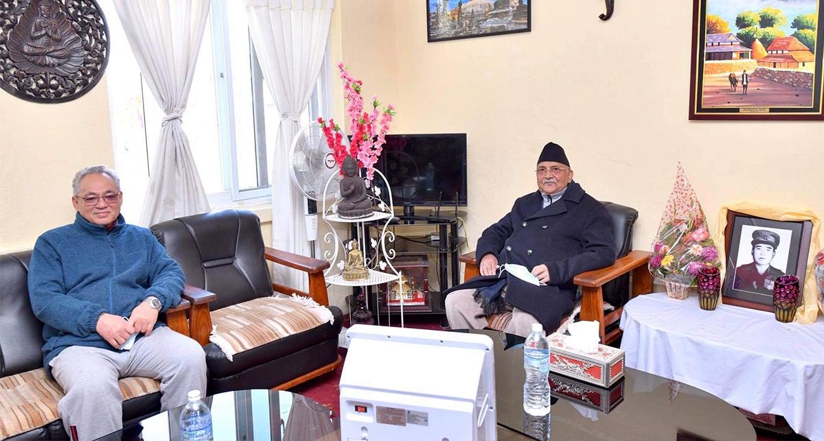 After Khumaltar-meeting, Oli reaches Pulchowk to meet Home Minister Thapa