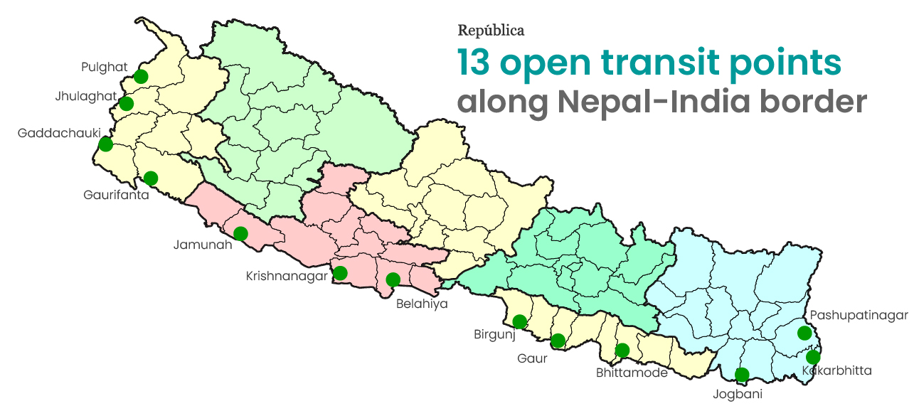 These are 13 border points to enter Nepal from India