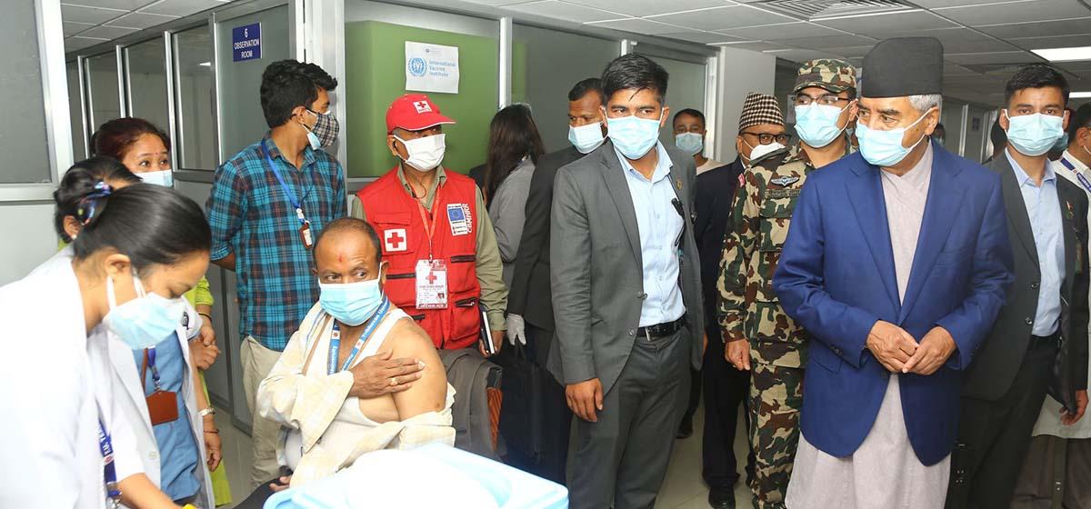 PM Deuba visits COVID- 19 vaccination centers