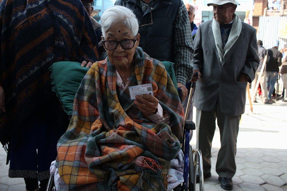 Elderly voters in Kathmandu