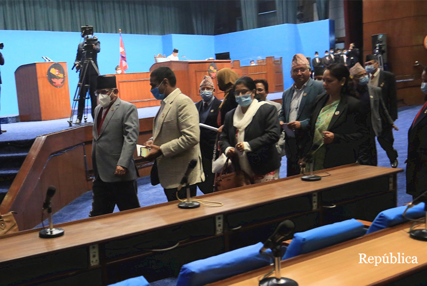 Lawmakers of the Dahal-Nepal faction boycott ongoing parliament meeting
