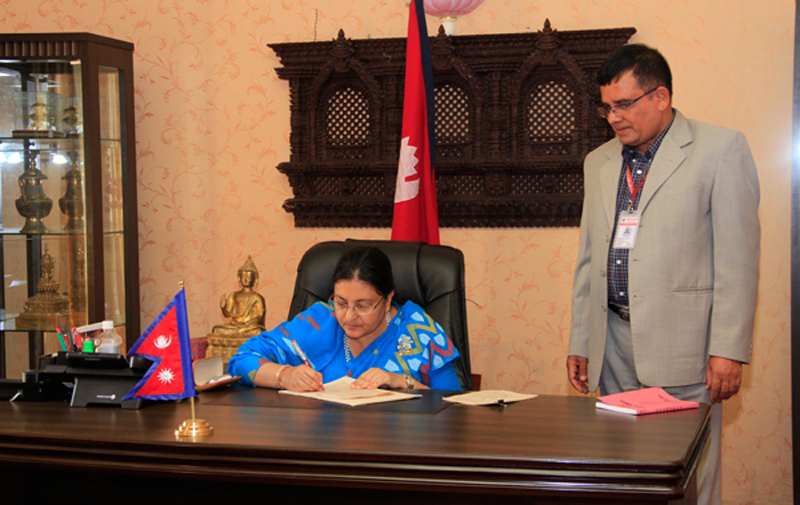 Ordinance authentication to end political deadlock: President Bhandari