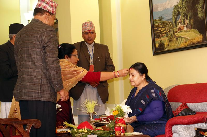 President Bhandari receives Dashain tika ( Photo Feature)