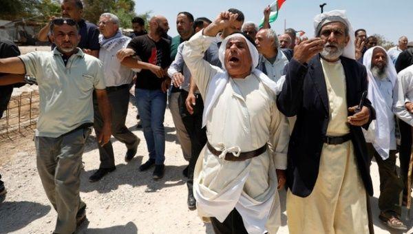 Palestinians protest planned demolition of Khan al-Ahmar