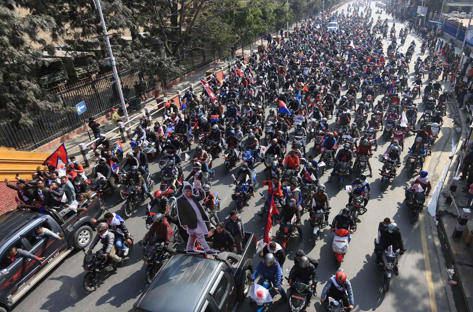 NCP's Oli-led faction stages motorcycle rally in capital (with photos)