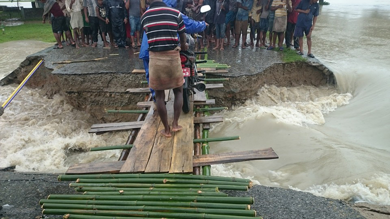 Flood sweeps away Rangeli-Urlabari Highway