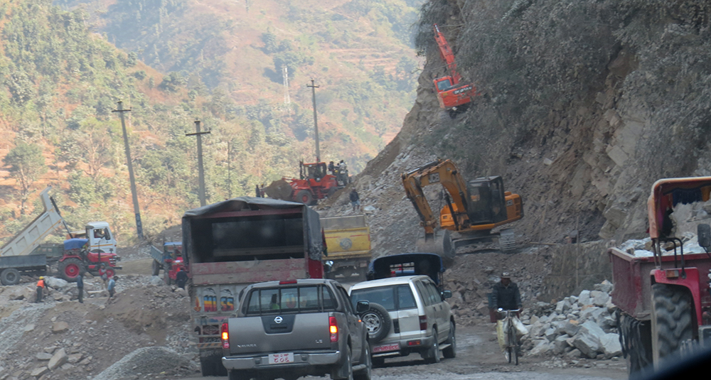 Road maintenance to delay vehicular movement at Narayanghat-Mugling road
