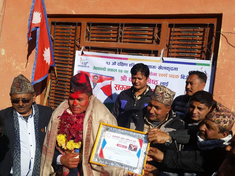 SAG gold medalist Shrestha receives warm welcome in his home district