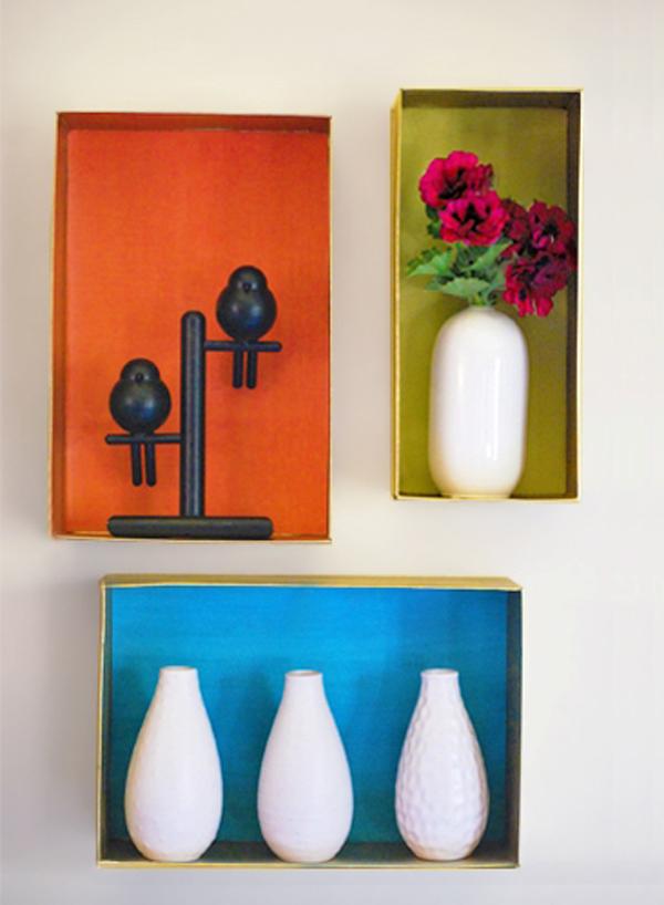Decorative shoebox wall shelves