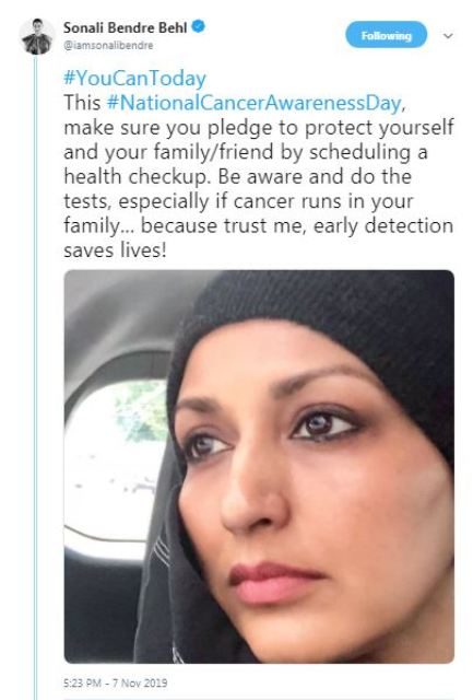 Sonali Bendre advices people to go for health check-up
