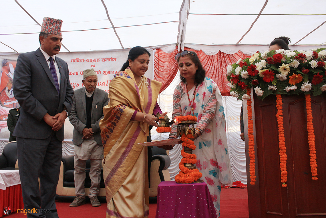 President Bhandari releases 'Songs of Swallows' (photo feature)