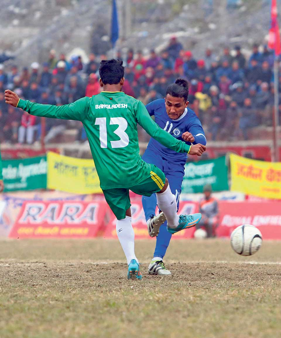 Three Star thrashes Bangladeshi club to reach Aaha Rara semis