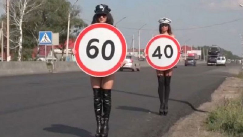 Russia uses topless models to enforce speed limit