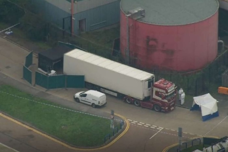 British police find 39 bodies in a truck container