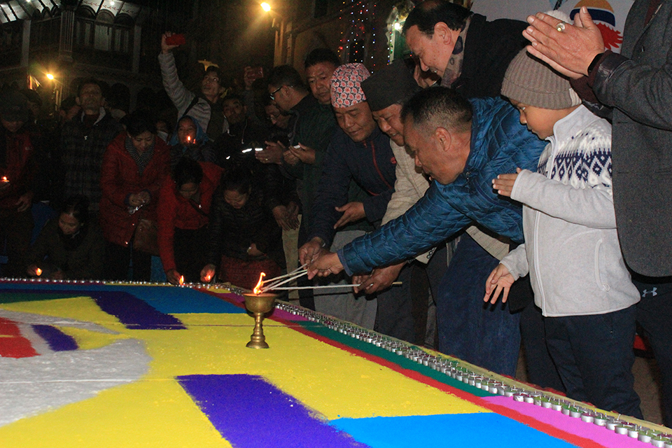 VNY welcomed at Bouddhanath lighting 10,000 candles ( with photos)