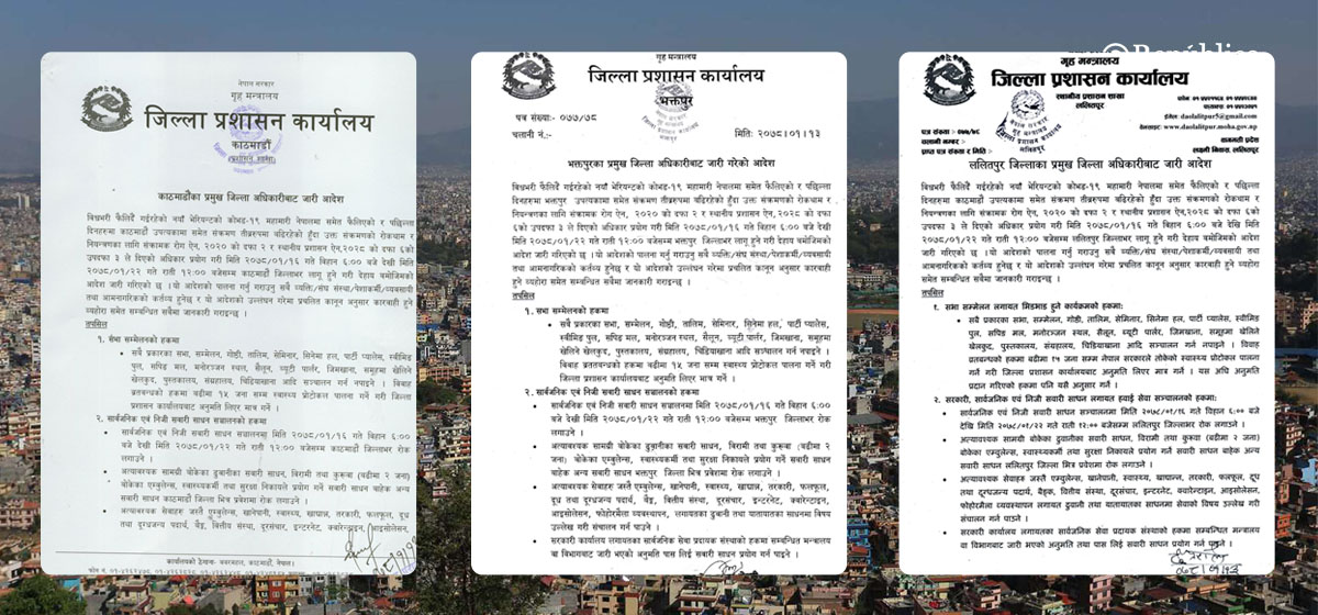 Week-long prohibitory order in Kathmandu Valley (With list of activities that are allowed and prohibited)