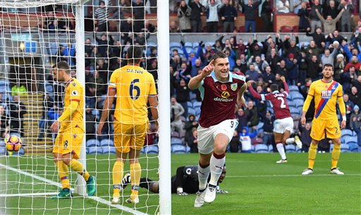 Burnley scores late to beat Palace