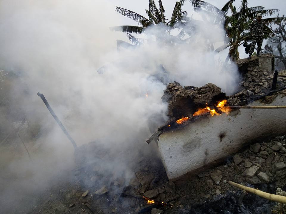 Wildfire destroys eight houses